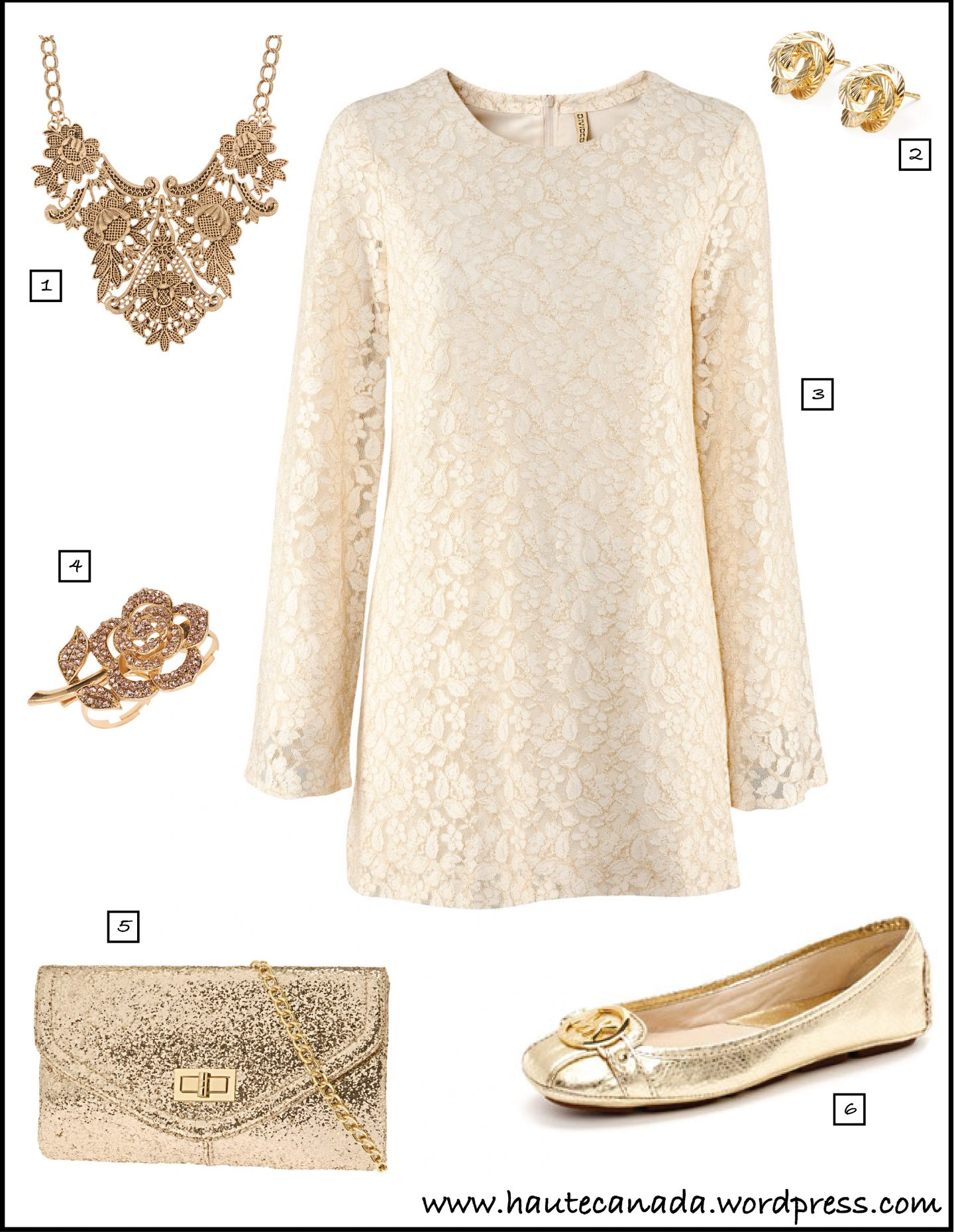 Haute's Online Stylist: A Champagne and Lace NYE
