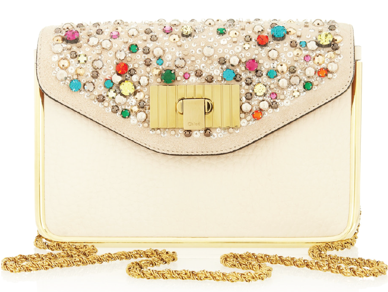 Chloé – Sally Swarovski Crystal Textured Leather Shoulder Bag
