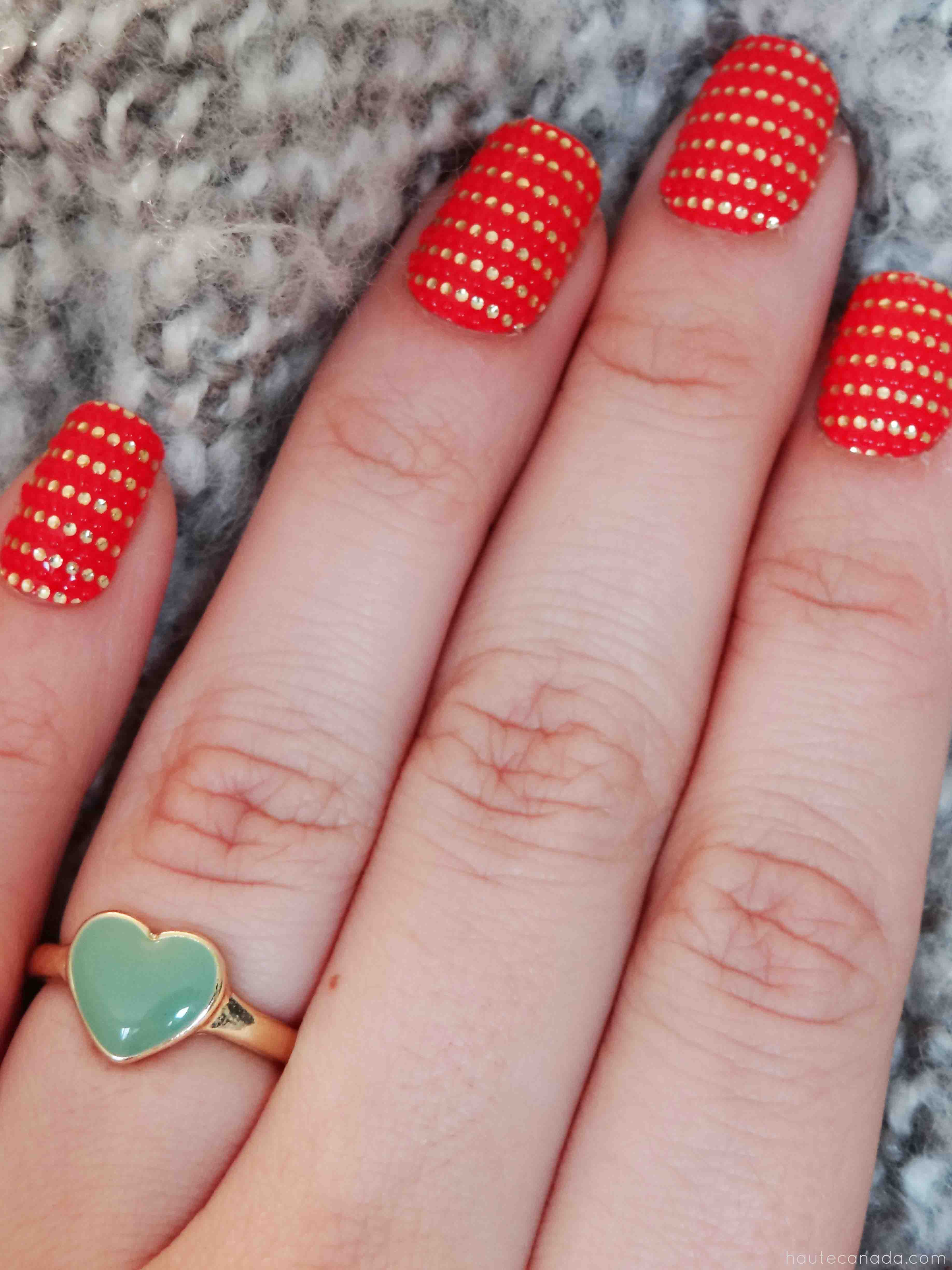Essie, Nail Art, Beauty, Nail Stickers, Red and Gold Nails, Nail Polish, Beauty Blogger, Toronto Blogs