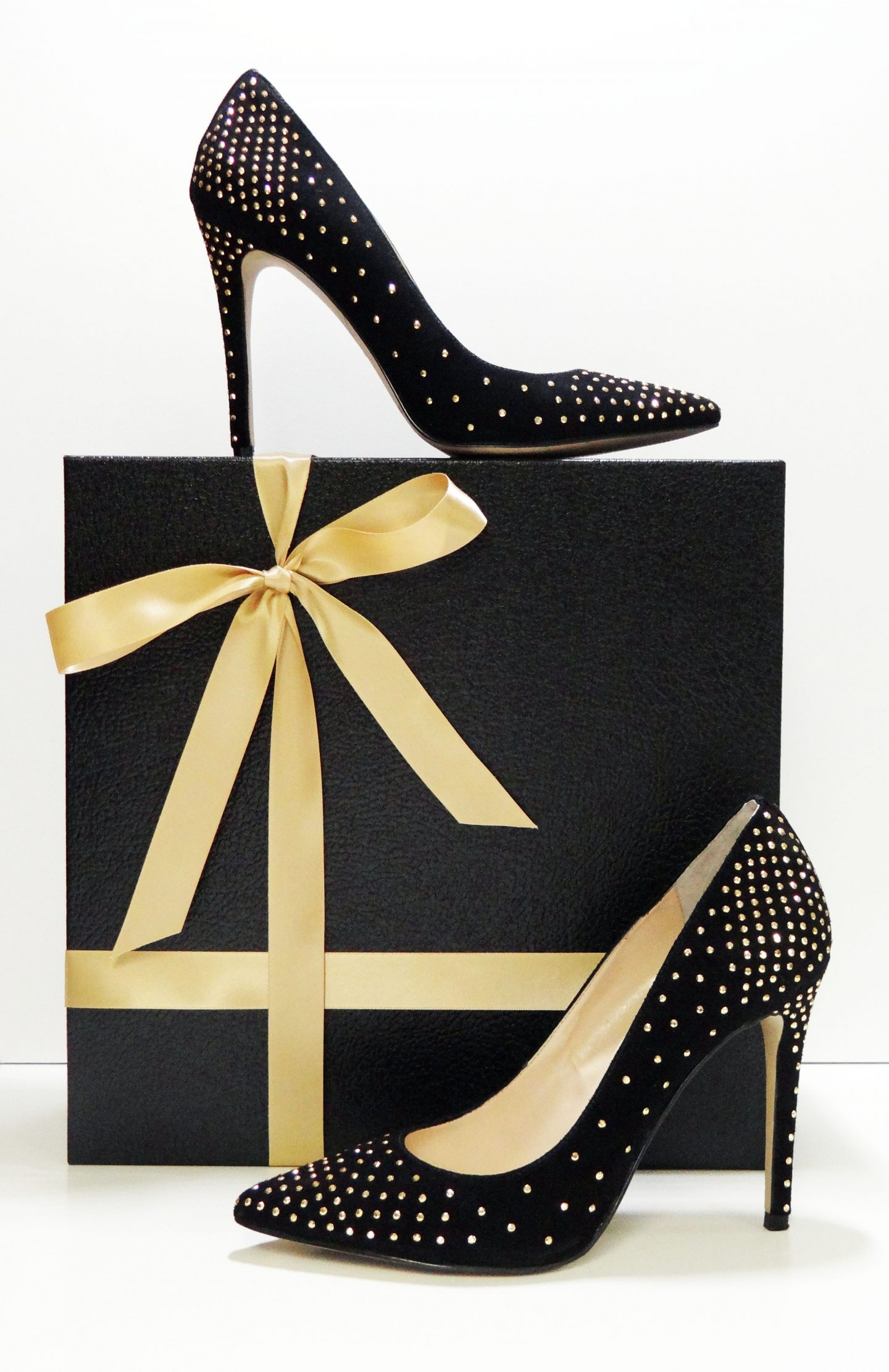 My New Black Suede, Gold Stud Embellished, Pumps