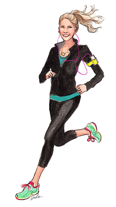 Fashion Illustration, Inslee Haynes, Fashion Art, Illustrations, Fashion, Life and Style, Fitness, Running, Running Illustration, Fitness Illustration, Girls Who Run, New Years, NYE