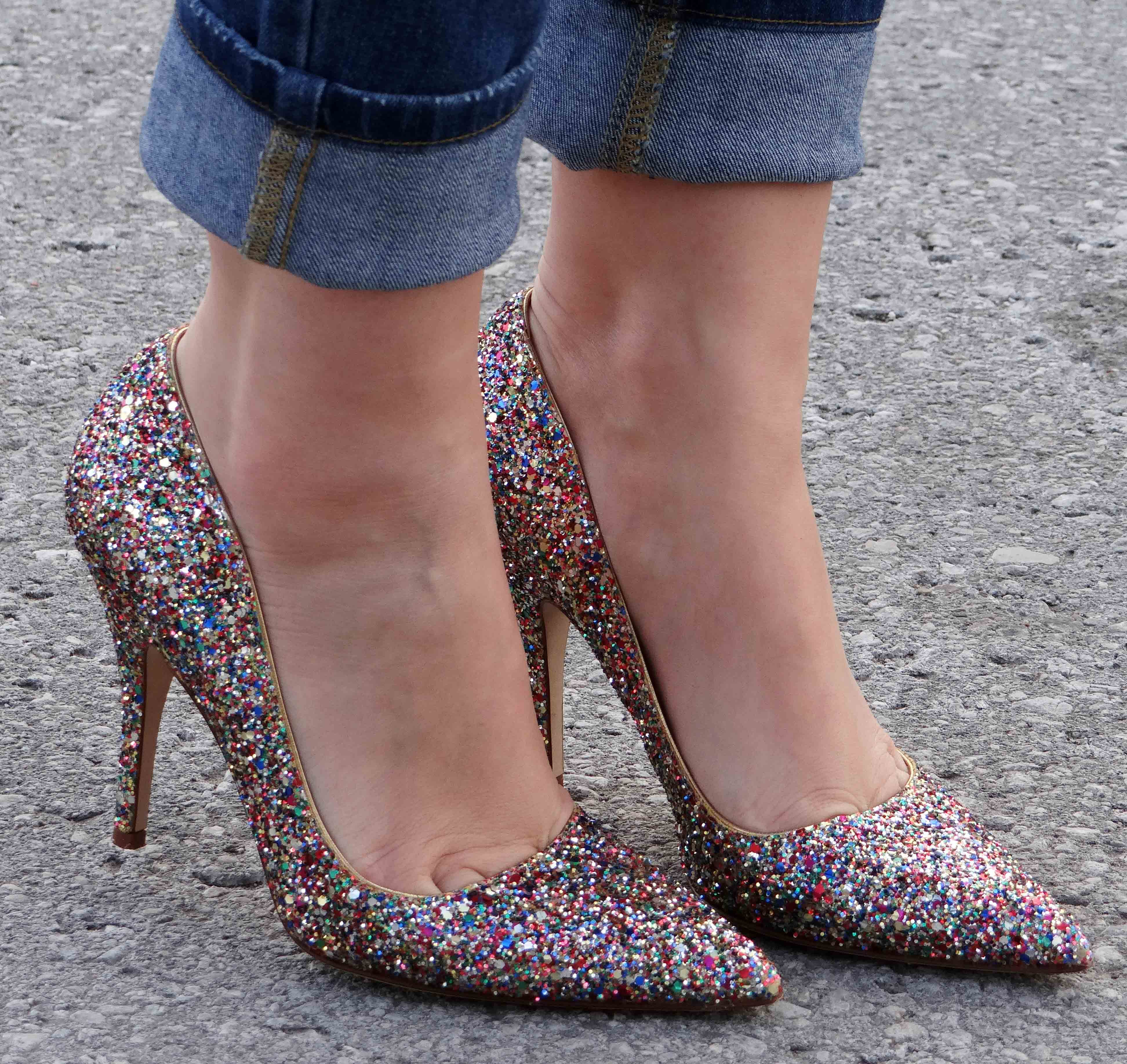 Outfit // Ripped Jeans and Glitter Heels | A Side Of Vogue