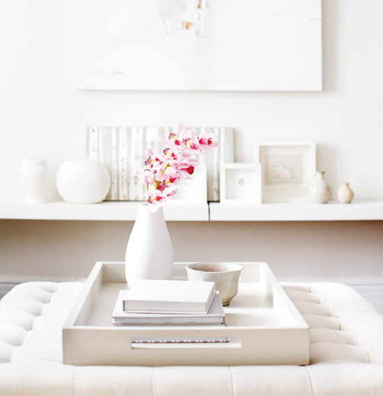 White Inspiration, White Home Decor, Home Decor, Interior Design, Coffee Table Styling, All white, decor, home inspiration, white with a pop of pink