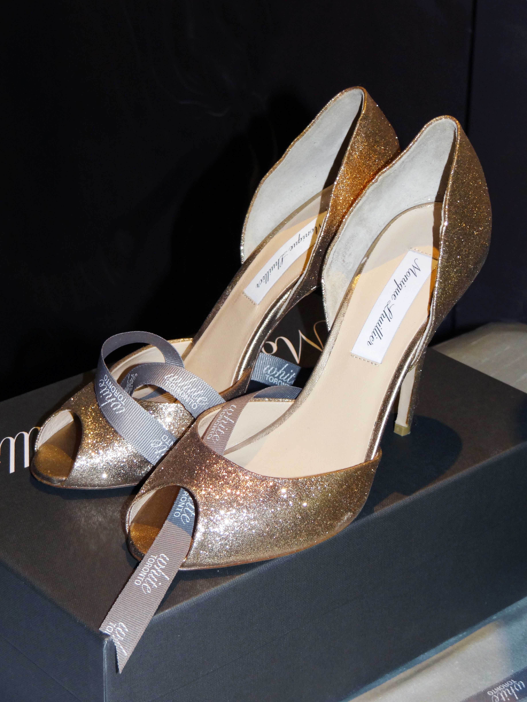 monique lhuillier, bridal shoes, wedding shoes, wedding, bridal, monique lhuillier shoes, heels, peep toe, glitter, sparkle, glitter heels