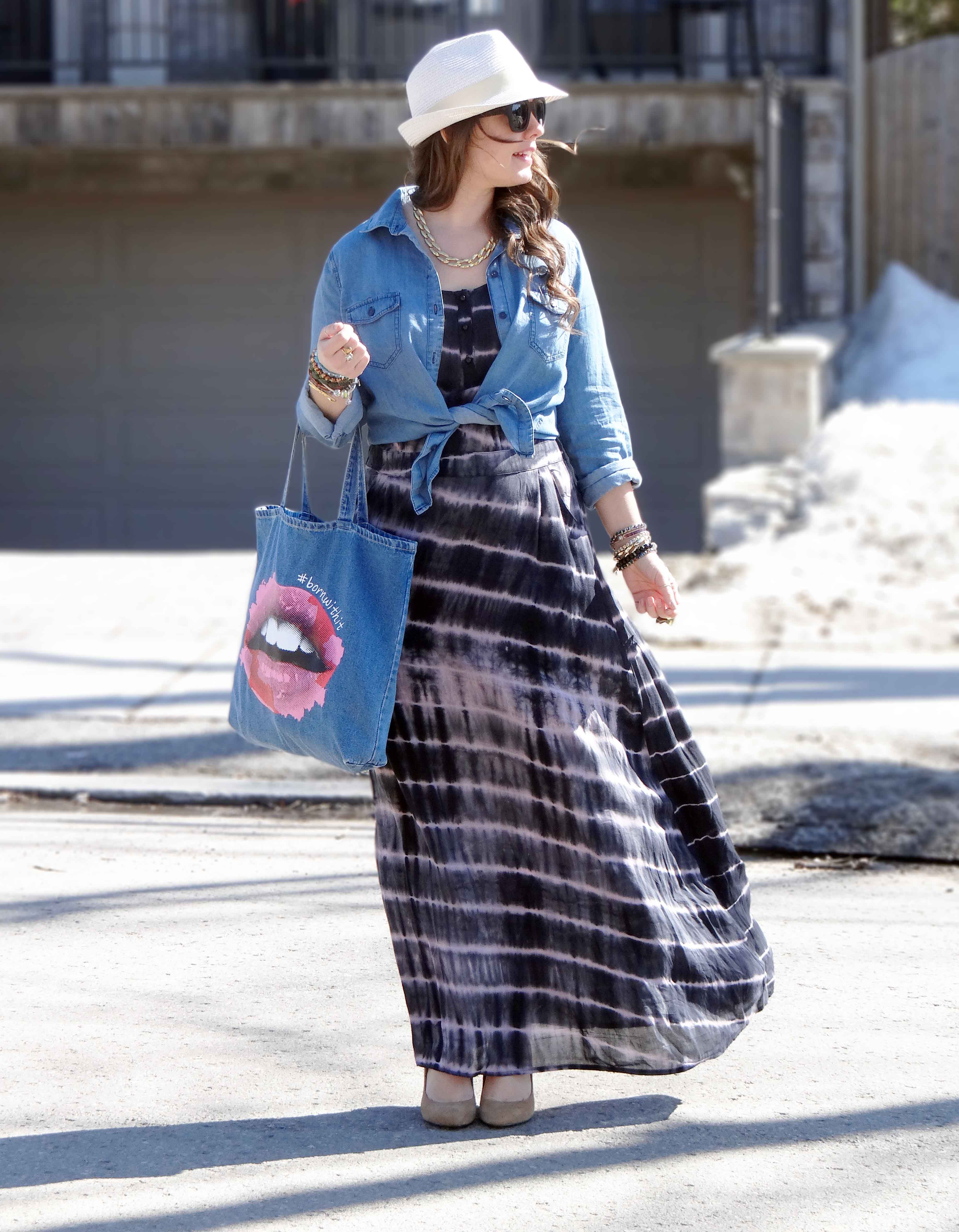 Tie Dye Dress Denim Fedora Hat Blogger Style A Side Of Style