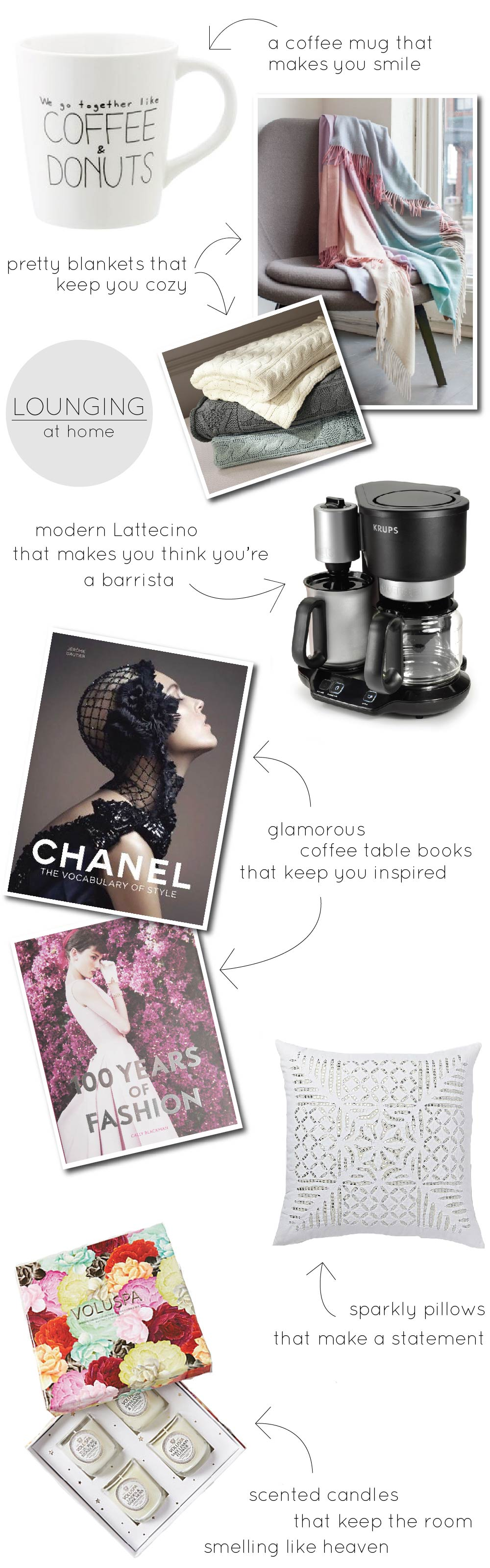 home decor, life and style, lounging, gift ideas, gifts, coffee table books, mugs with quotes, pillows, candles, coffe makers, fashion books, chanel books, chanel coffee table book, 100 years of fashion book