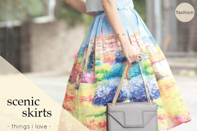 Things I Love: Scenic Print Pleated Skirts