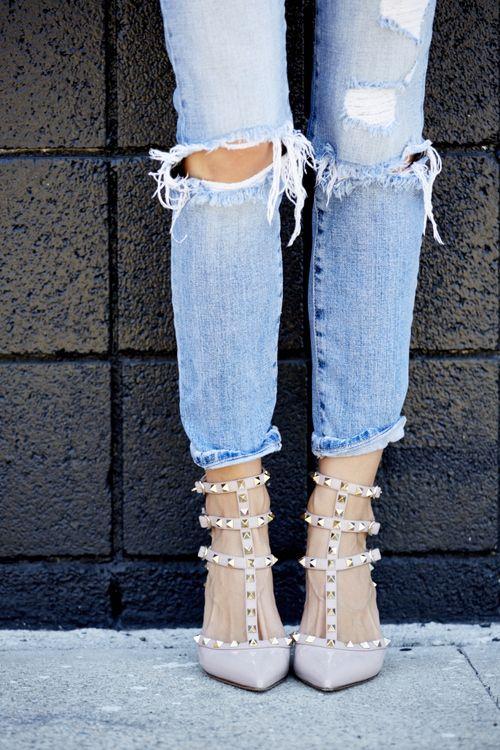 Ripped-Denim-And-Pink-Valentino-Studded-Rockstar-Heels