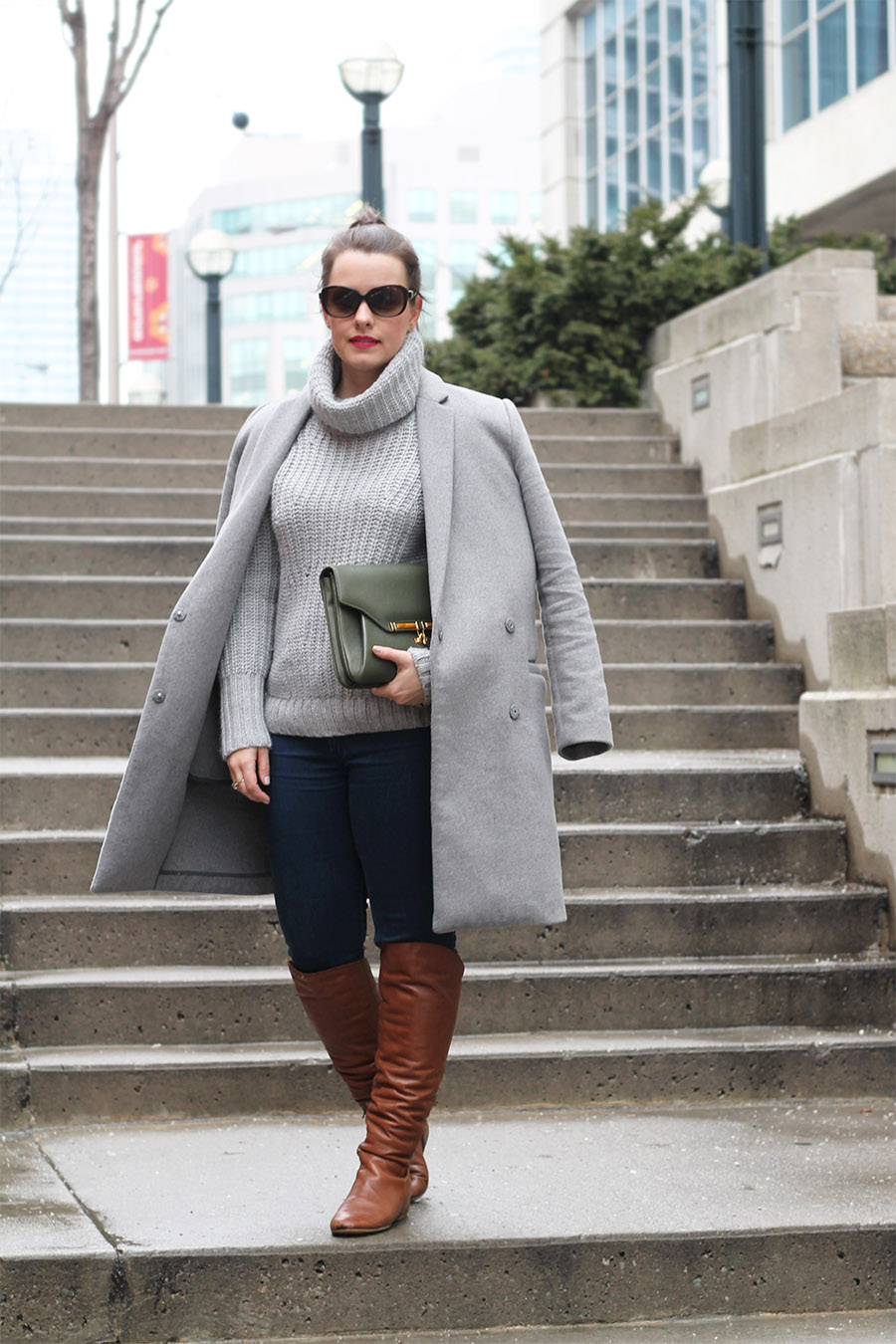 Casual Outfit Inspiration, Grey on Grey, Brown Knee Boots, Winter Fashion