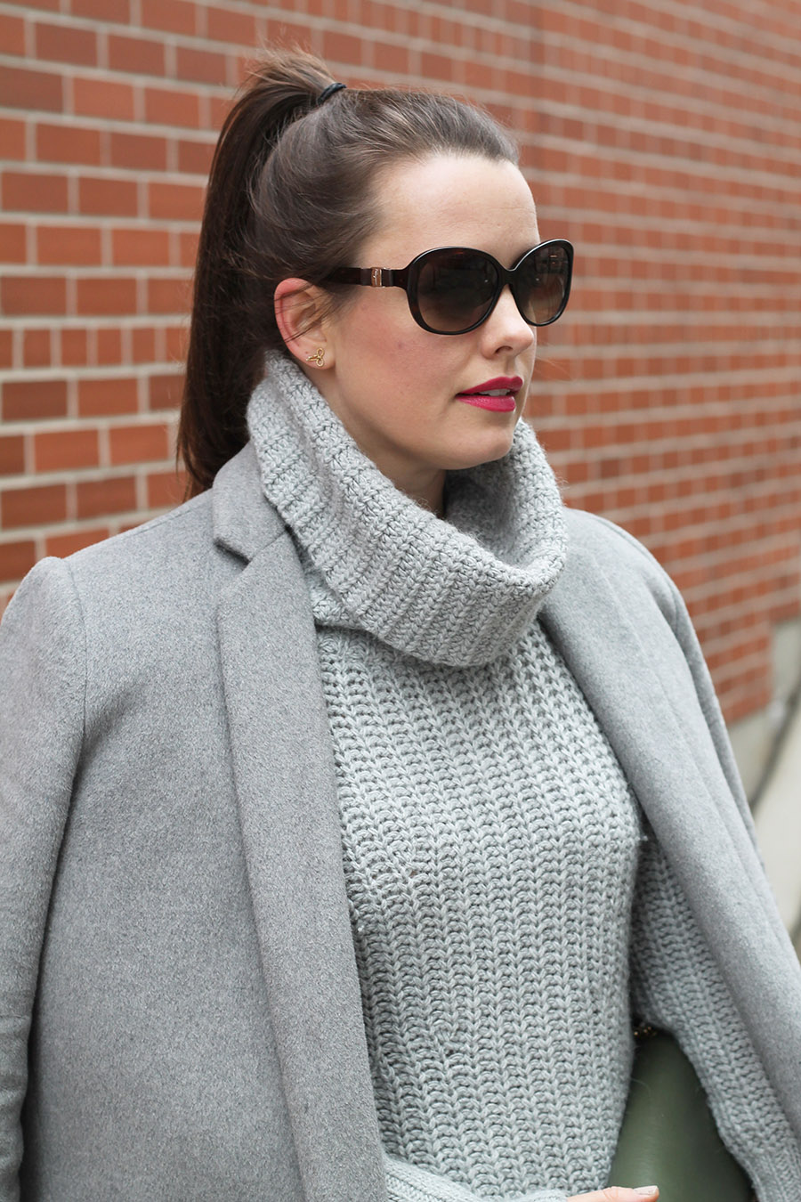 Grey Turtle Neck Sweater, Salvatore Ferragamo Sunglasses, Grey Wool Coat