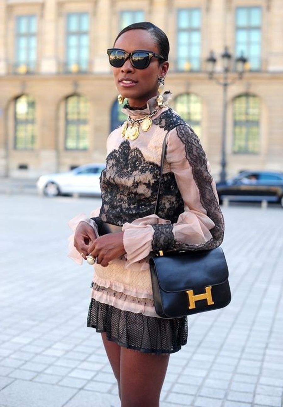 Black Hermes Constance, Designer Leather Shoulder Bag, Classic Crossbody Handbag