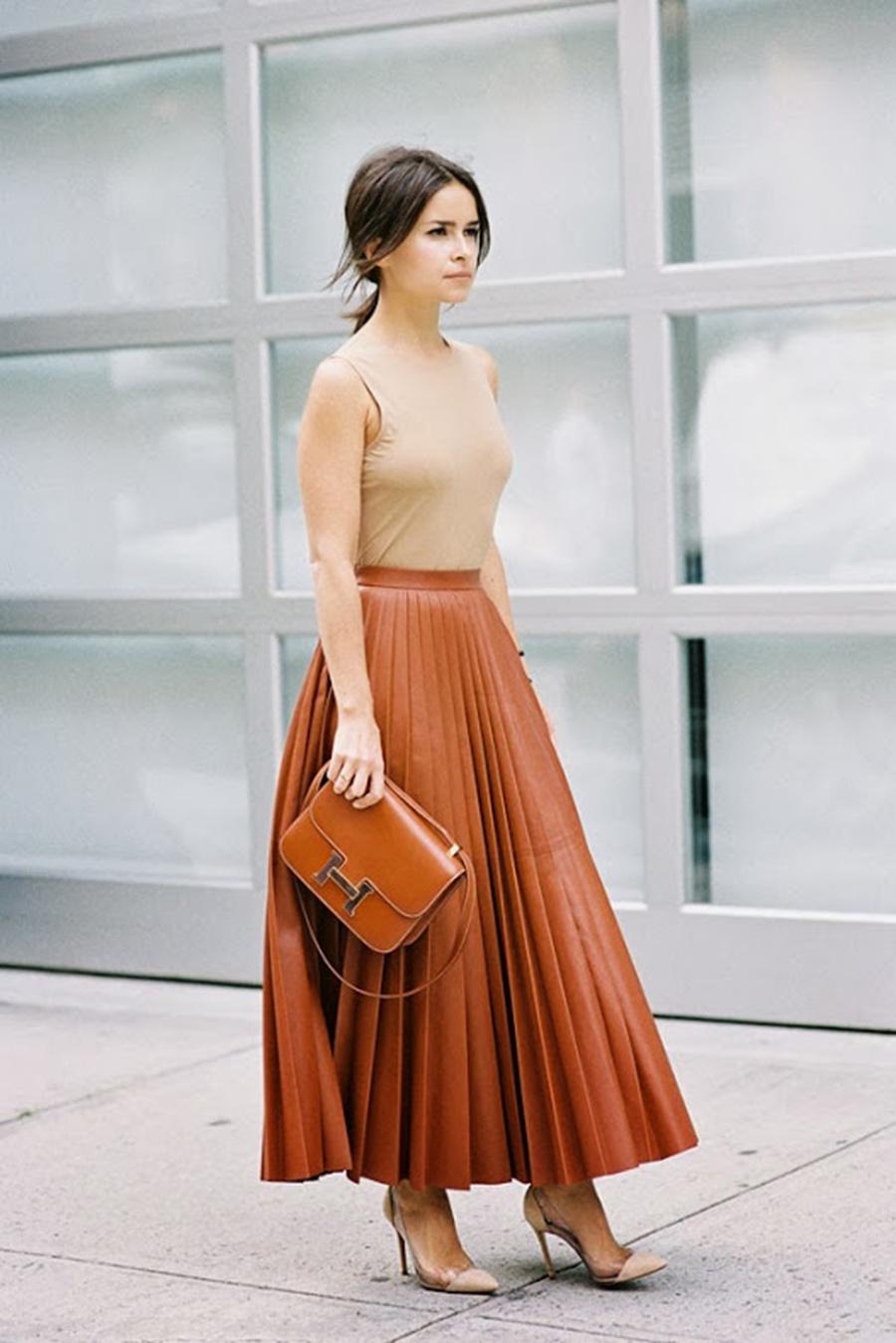 Brown-Hermes-Constance-Handbag-Pleated-Leather-Skirt