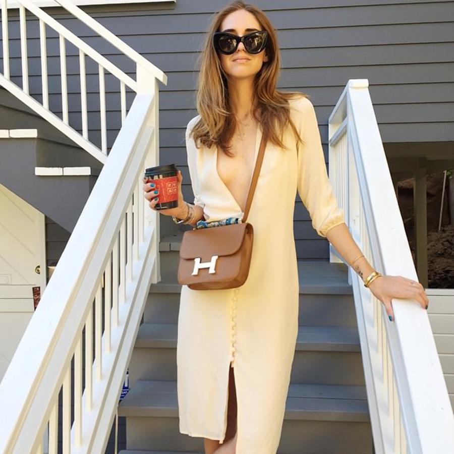 Brown Hermes Constance Shoulder Bag, Chiara Ferragni, Classic Designer Handbag, Timeless Luxury Handbag, Fashion Blogger Instagram, The Blonde Salad