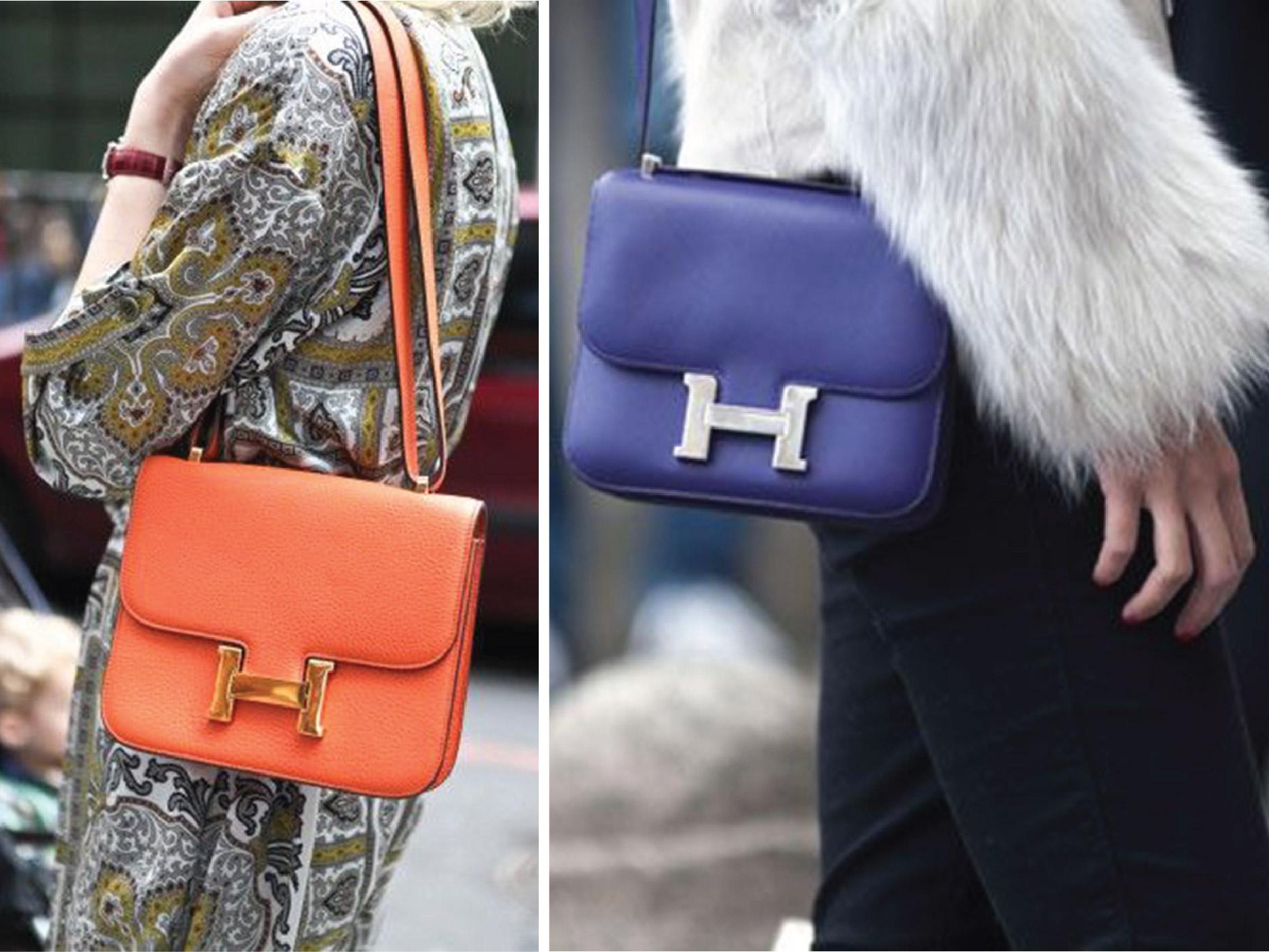 Hermes Constance Handbag, Purple Leather Crossbody, Orange Hermes Shoulder Bag
