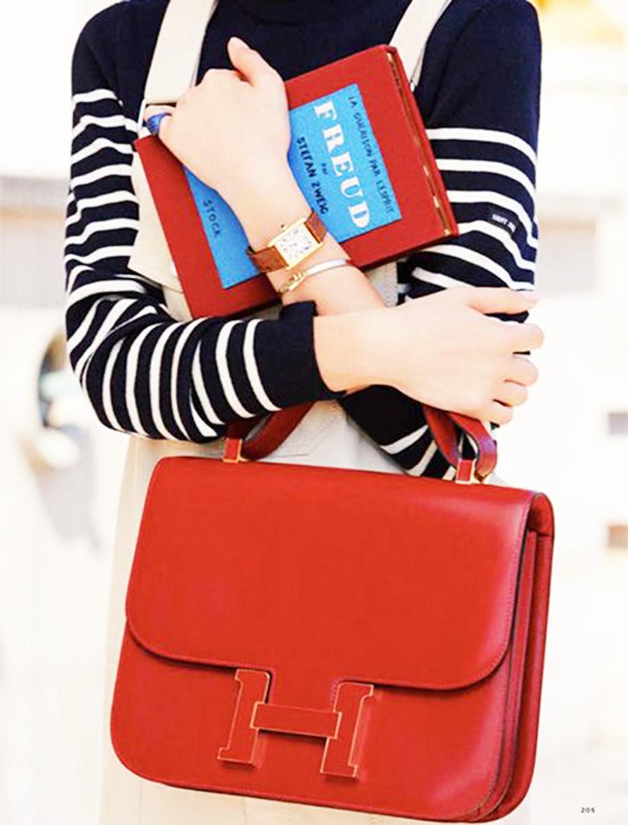 Oversized Handbags, Large Red Hermes Constance
