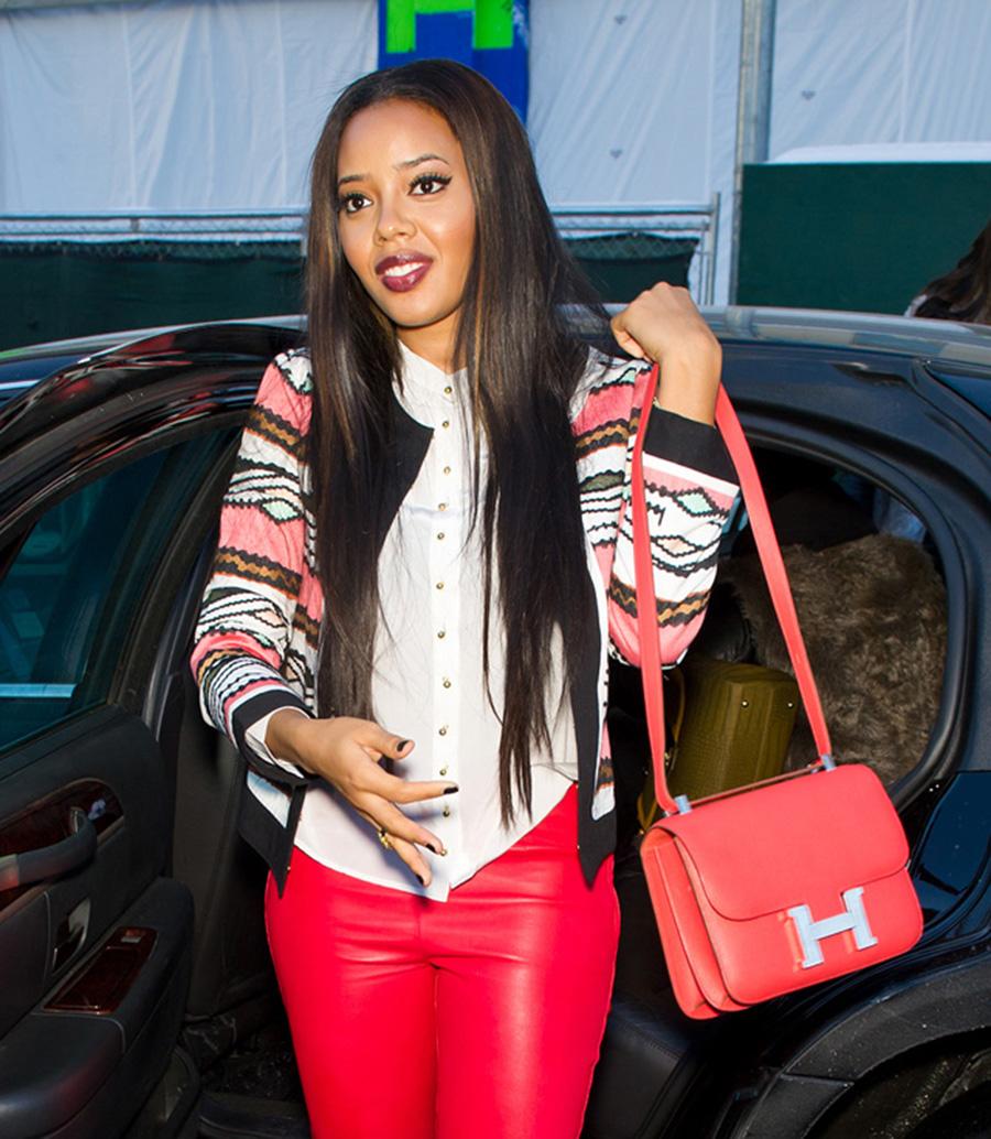 Hermes Constance Shoulder Bag, Red Leather Handbag, Angela Simmons Style
