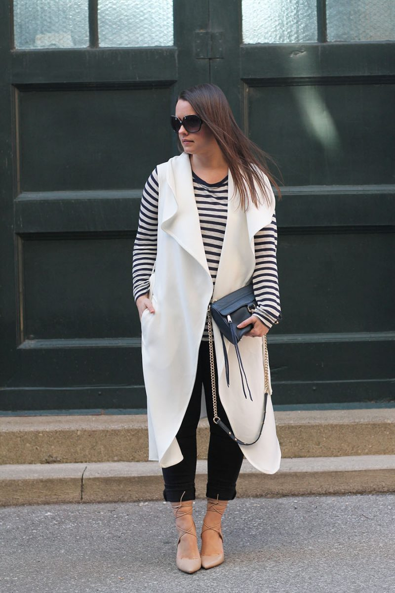 Outfit // Long White Vest with Lace-Up Pumps