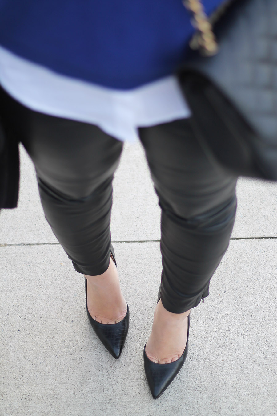 Faux Leather Pants, Classic Black Pumps, How To Wear Leather Tights