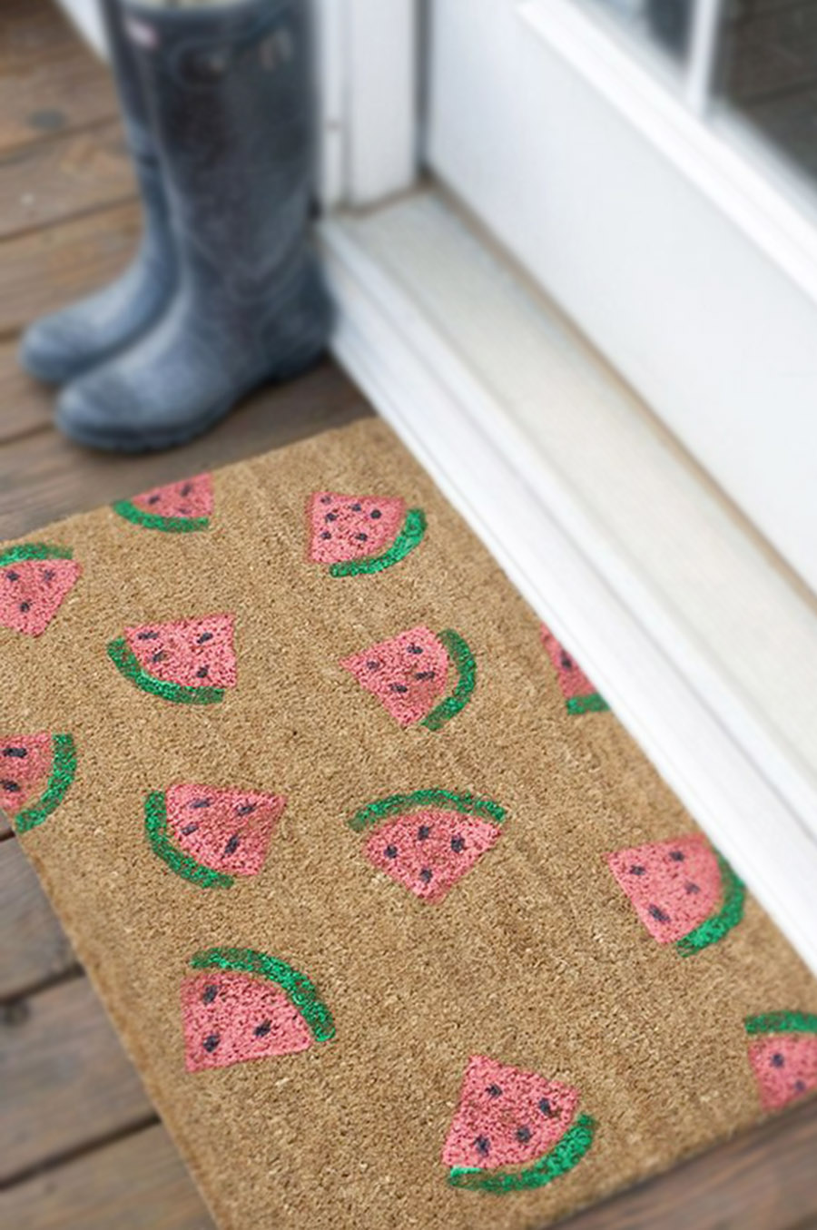 Easy Summer DIY, Watermellon Stamped Doormat, DIY Paint Stamps, Watermellon DIY Projects