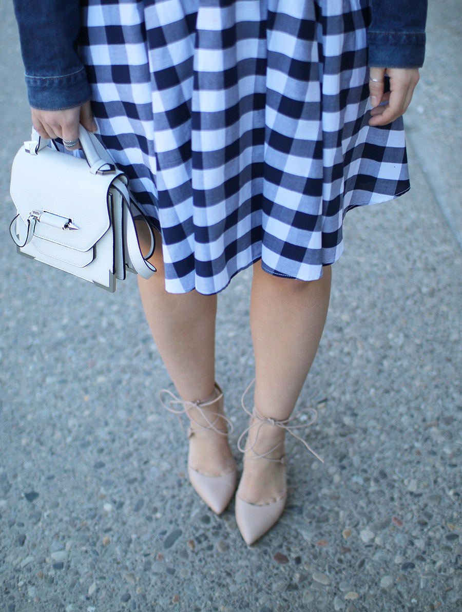 Lace Up Shoes, Small White Handbag, Mackage, Blue Gingham Dress
