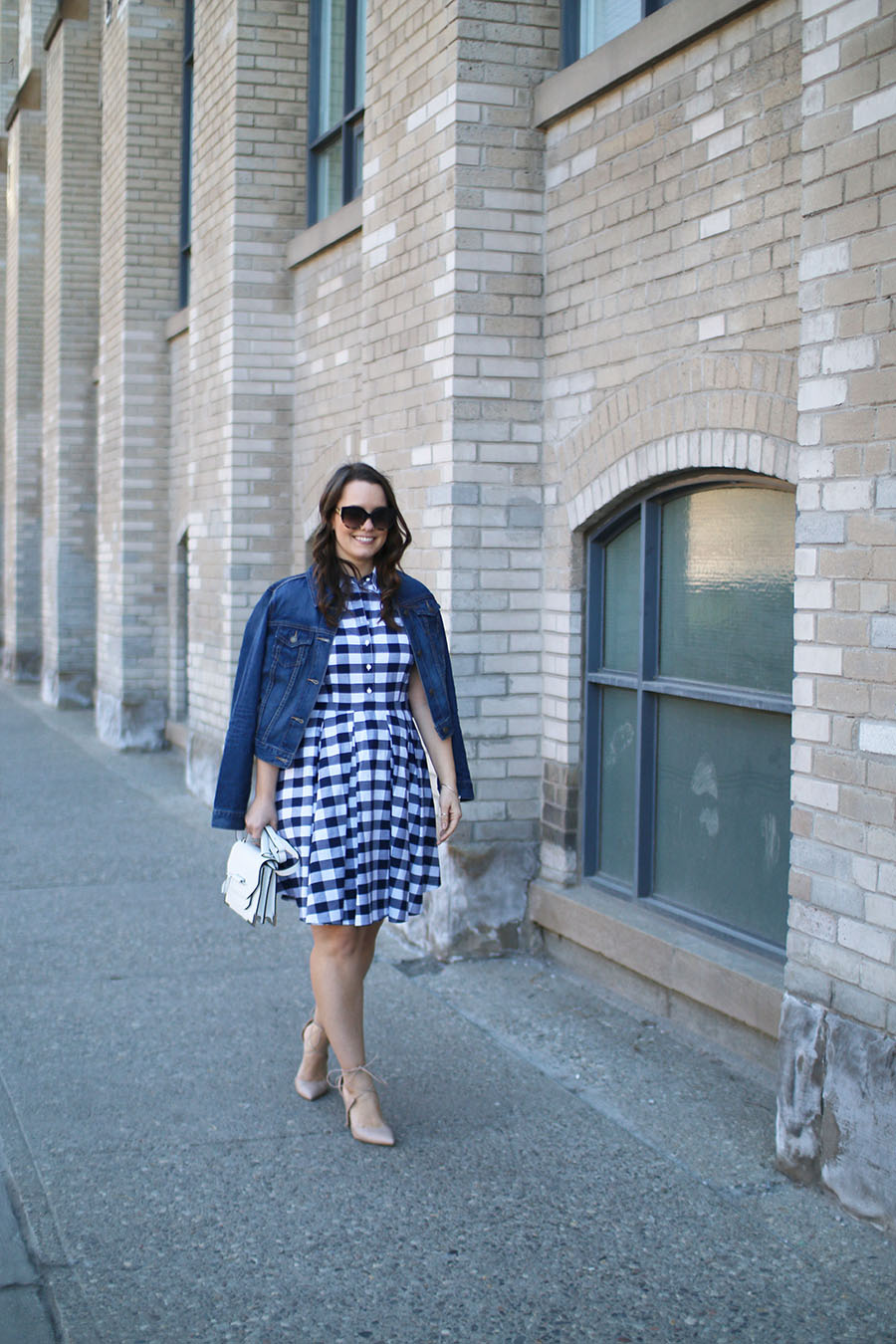 Outfit Ideas For Summer, Nine West Gingham Dress, How To Wear A Denim Jacket
