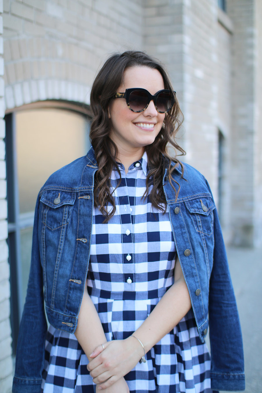 Spring Fashion Trends, Gingham, TOMS sunglasses, Old Navy Denim Jacket,