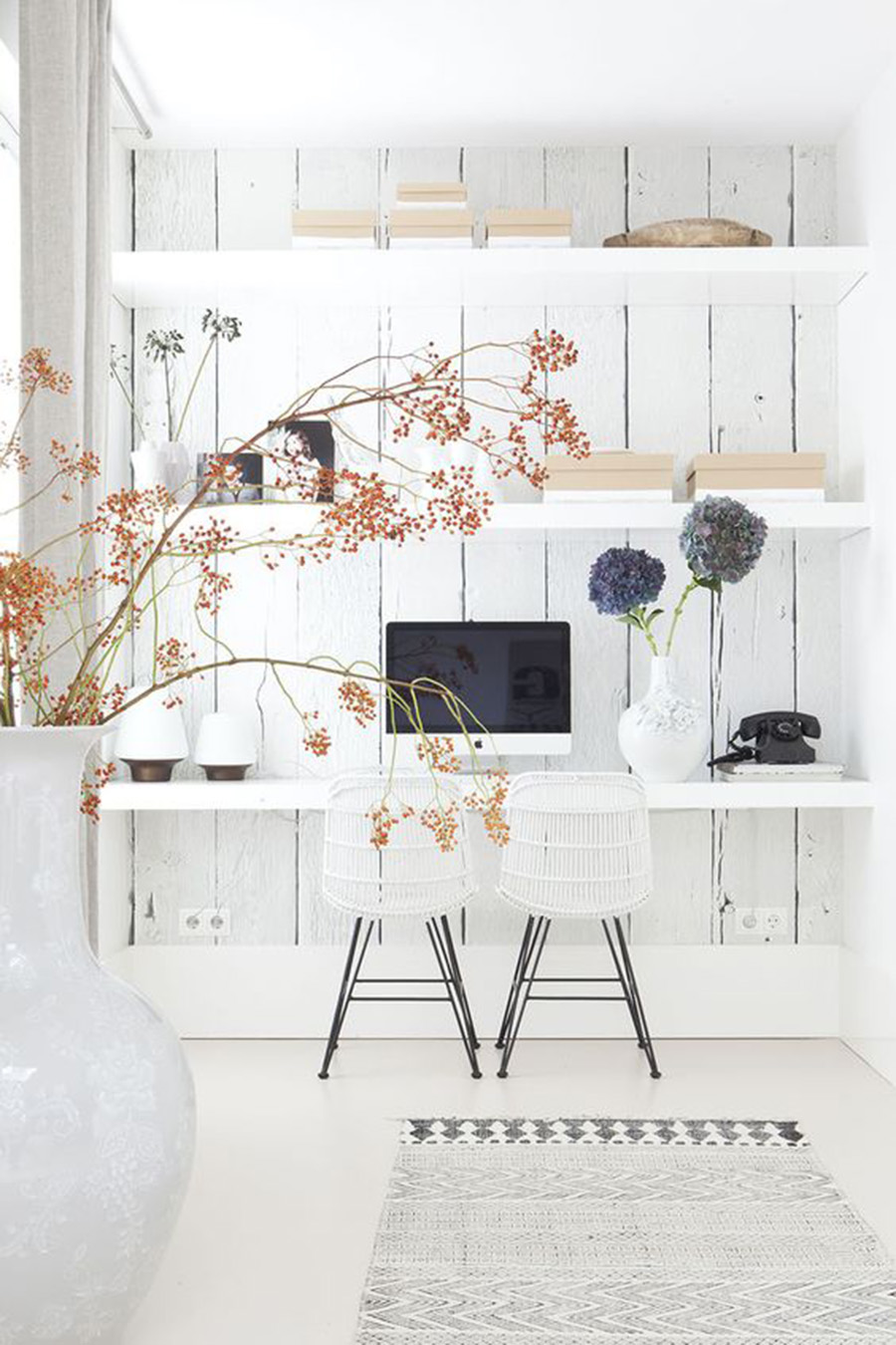 Office Space Ideas with Floating Shelves and Back Backdrop