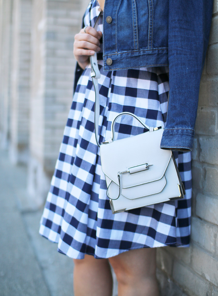 Mackage Rubie Mini, White Leather Crossbody Handbag, Gingham Trend