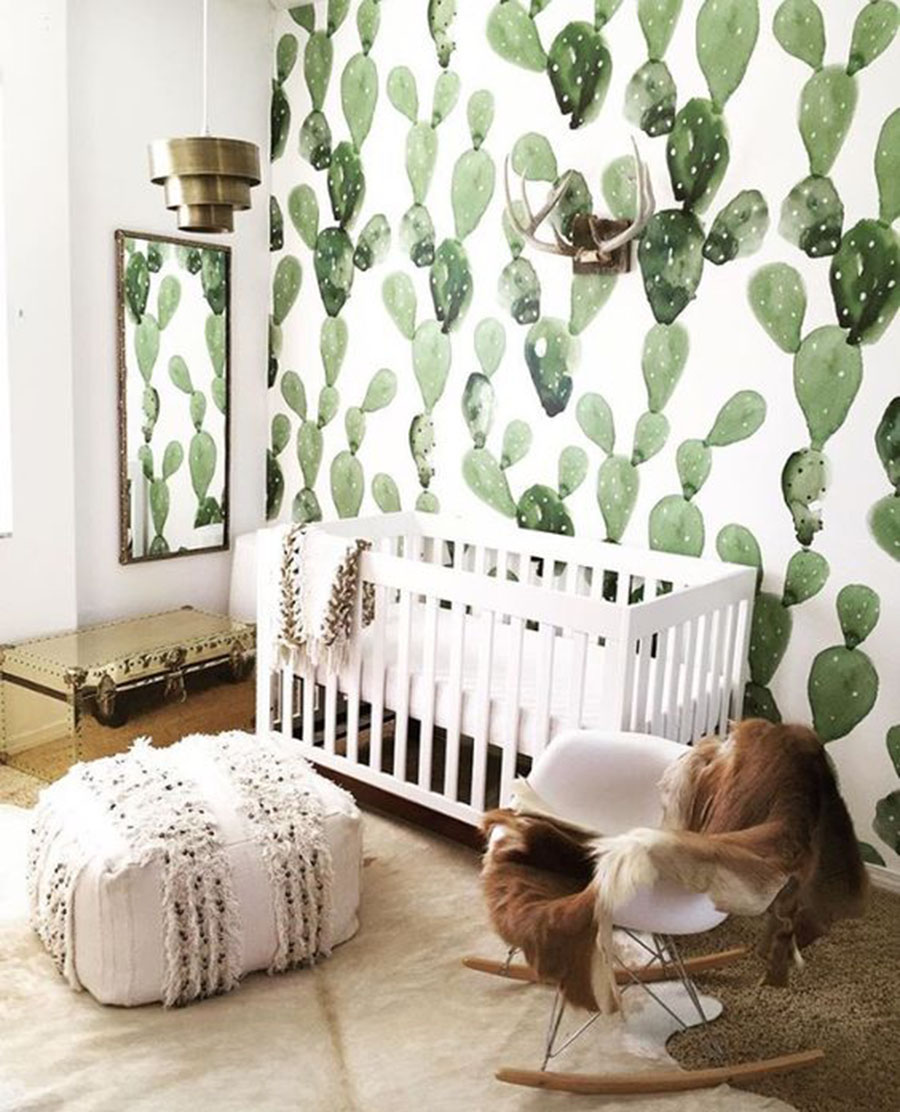 Watercolor Cactus Wallpaper Baby Nursery Ideas Etsy