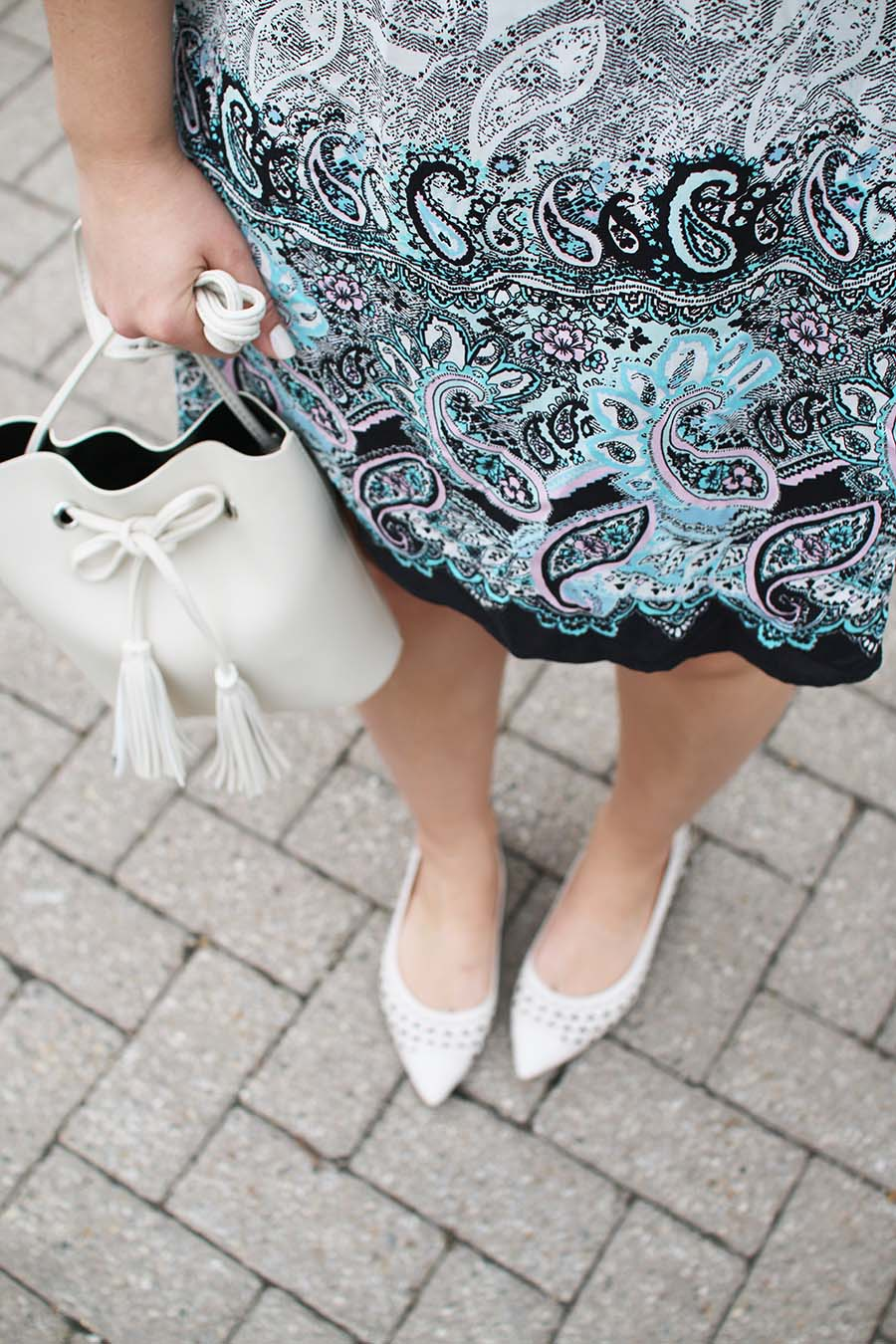 paisley-summer-dress-affordable-bucket-bag