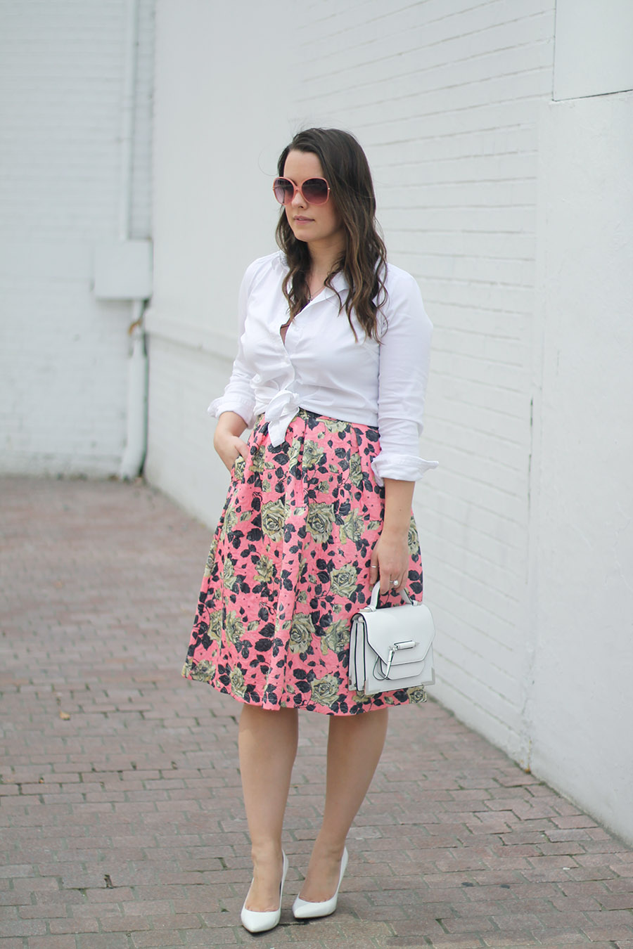 Outfit // Floral Midi Skirt