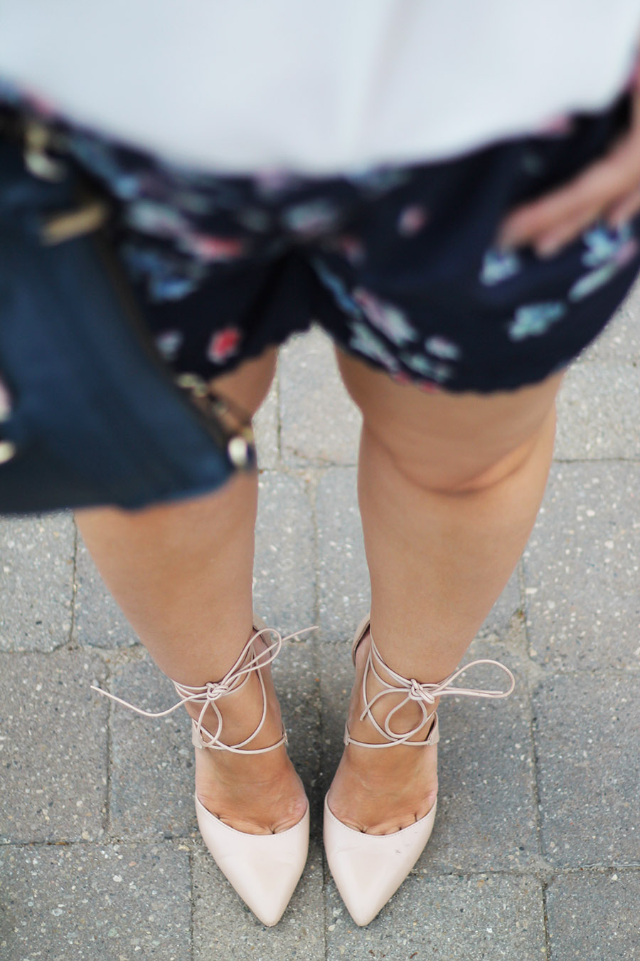 nude-lace-up-heels-with-shorts