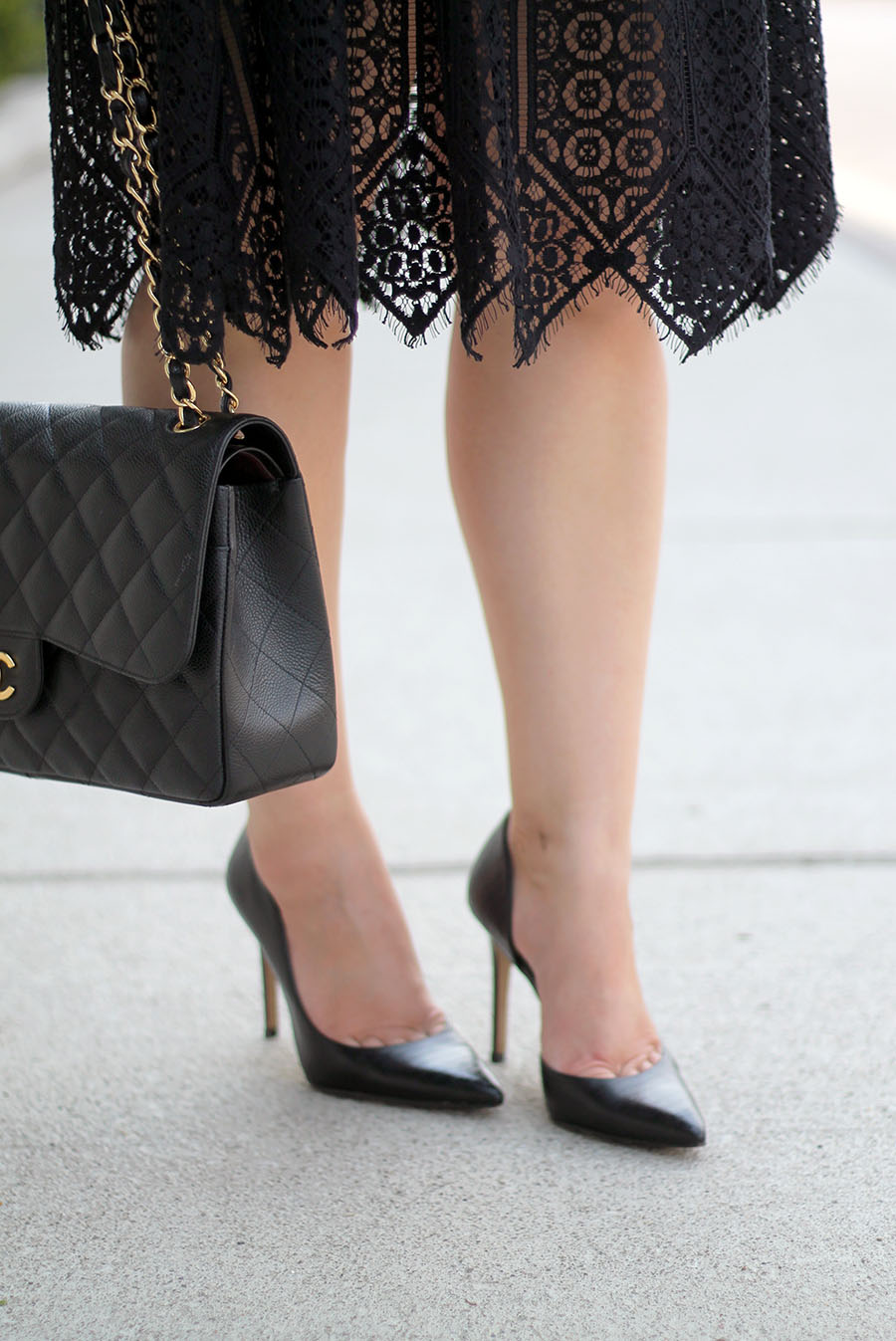 classic-black-heels-lace-dress-quilted-handabg