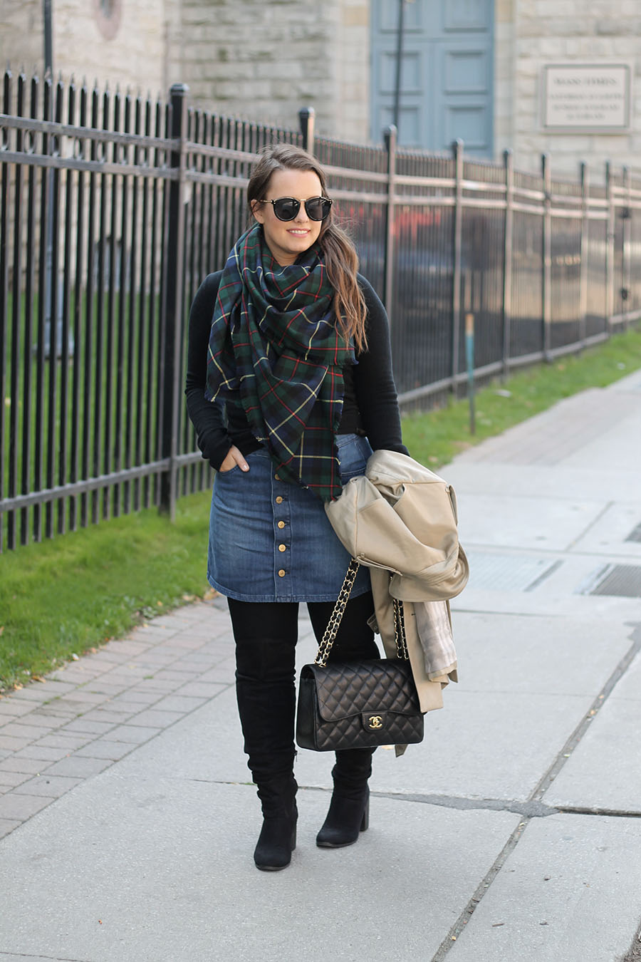 fall-fashion-green-plaid-blanket-scarf