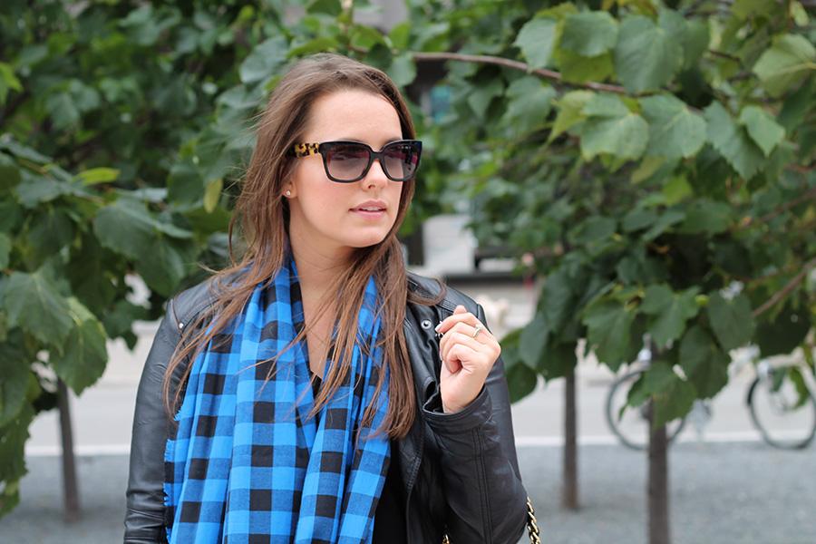 prada-sunglasses-black-blue-checkered-plaid-scarf