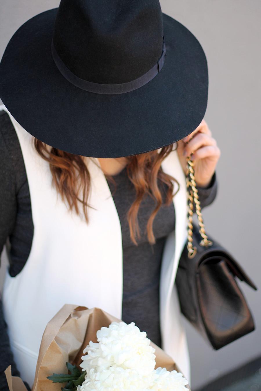 fall-fashion-black-felt-hat-long-white-sleeveless-blazer