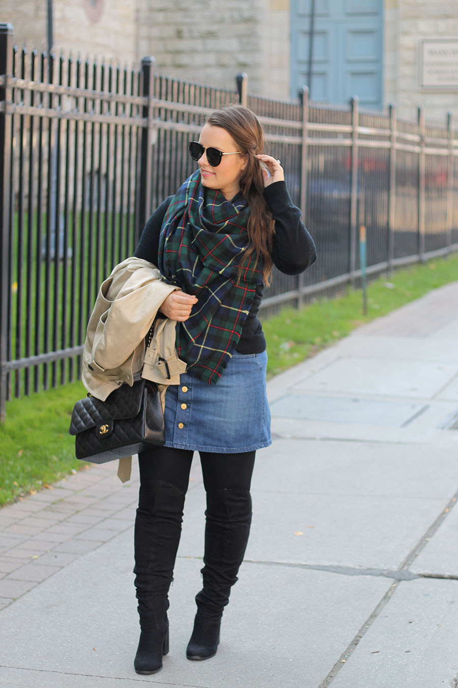 fall-style-plaid-blanket-scarf-denim-skirt-over-the-knee-boots
