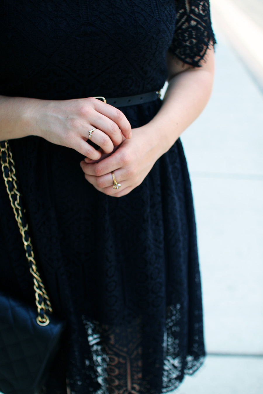 pretty-gold-rings-black-lace-dress