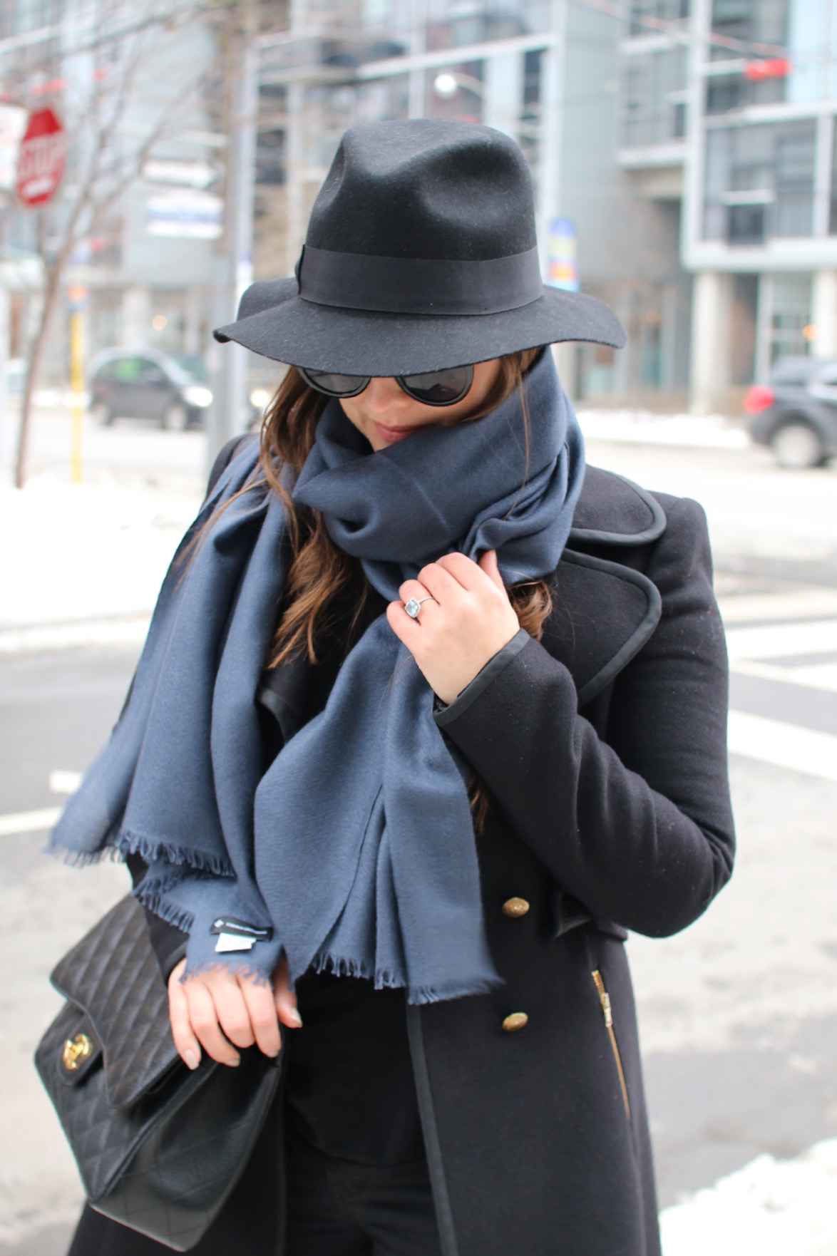 black-wool-fedora-hat-cashmere-scarf-chanel-purse