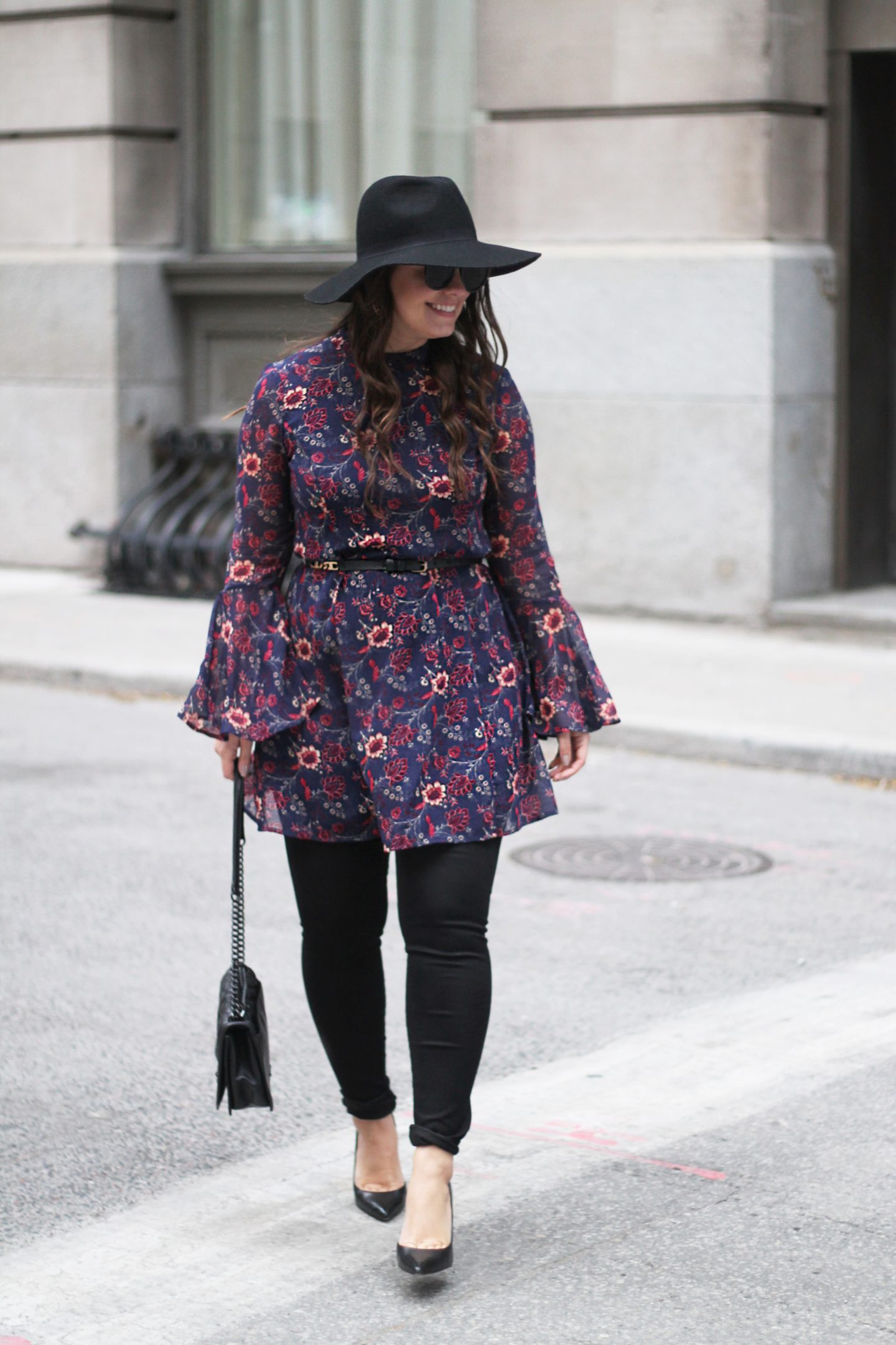 How To Wear A Foral Dress, Flared Bell Sleeves, Fashion Style Blogger