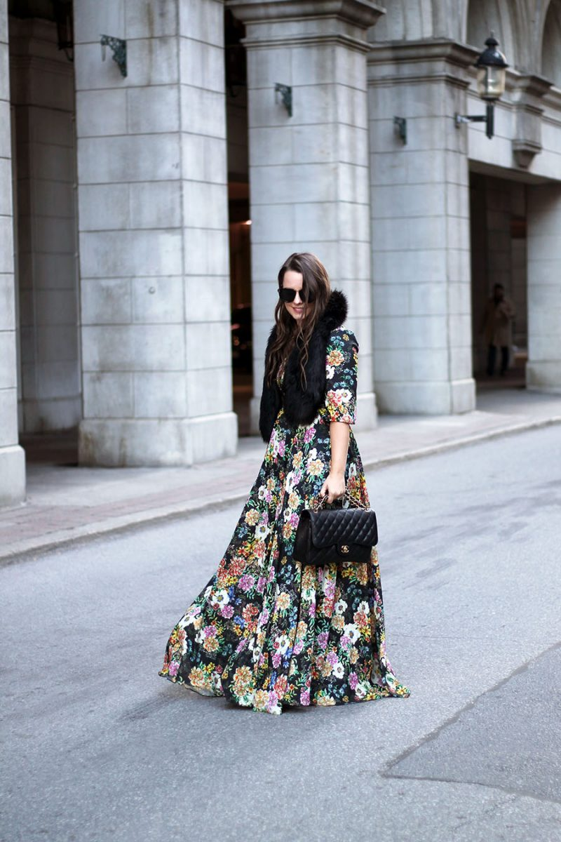 Outfit // Holiday Style: Floral Maxi Dress & Faux Fur