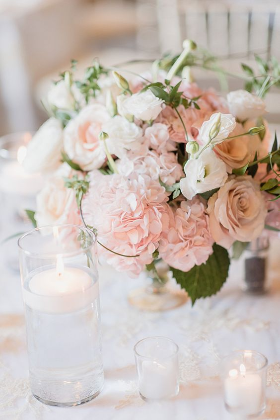 Centerpieces Wedding Flower Inspiration Pink White Green