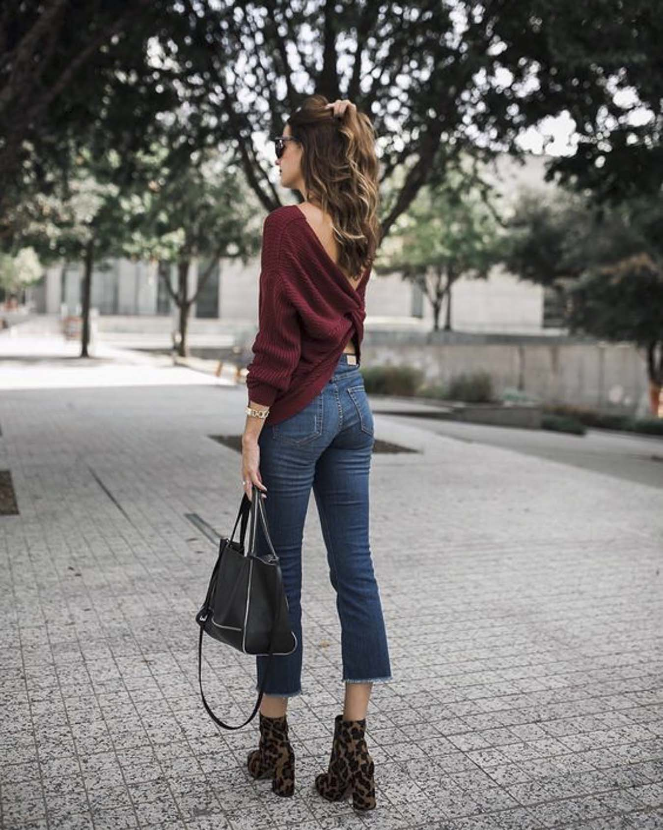 Red-Burgundy-Twisted-Sweater-Fall-Winter-Outfit-Ideas