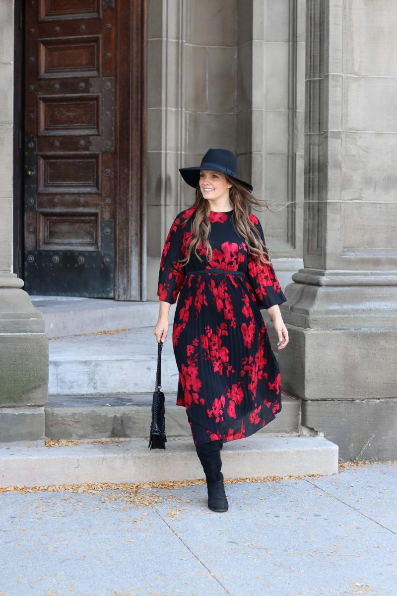 Red and Black Floral Print Dress // Outfit