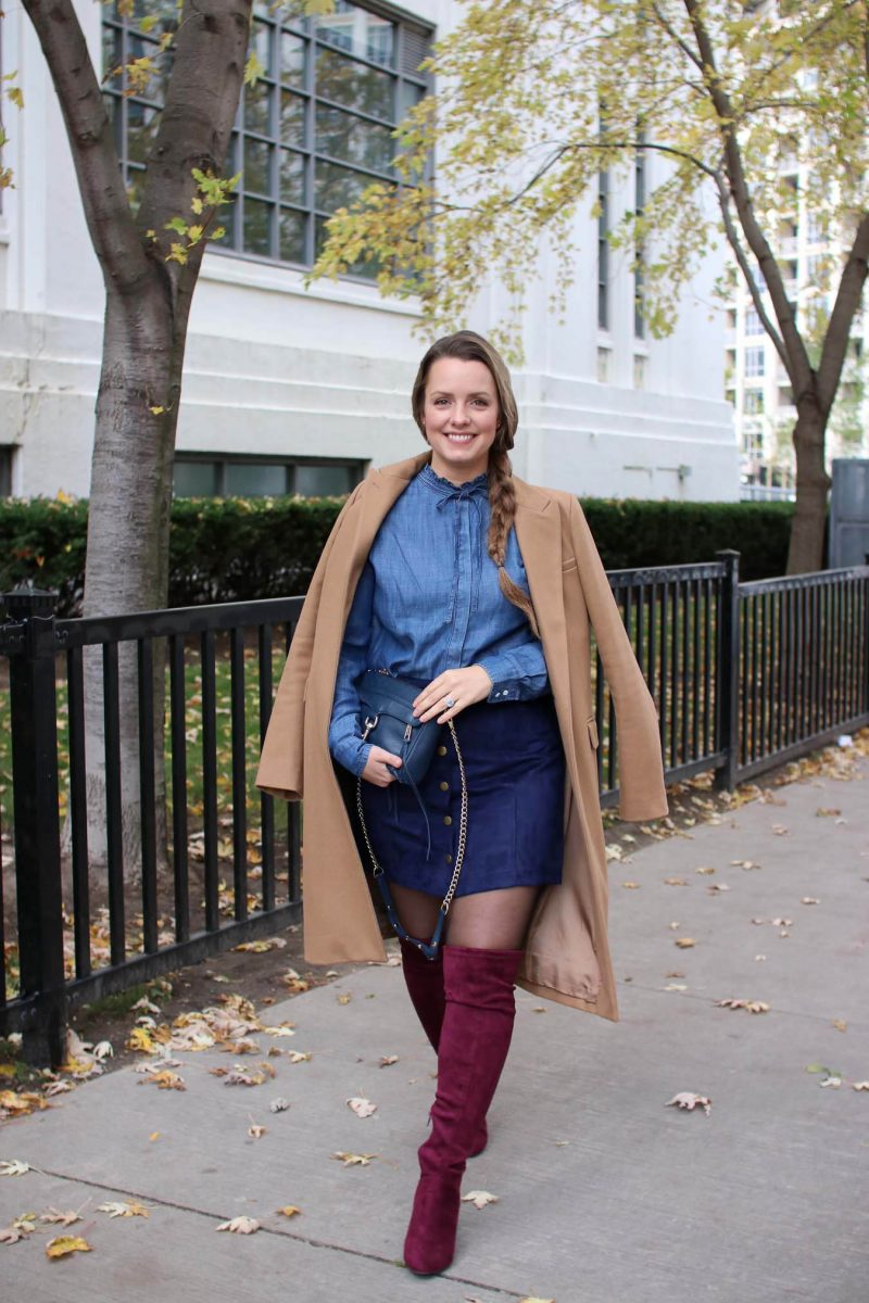 Outfit Ideas // Camel Coat and Chambray Shirt