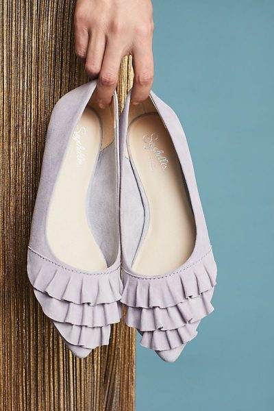 Purple Ruffled Flats