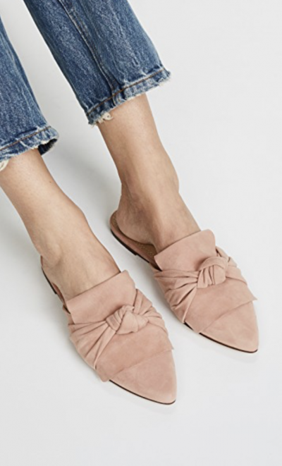 Pink Flat Knotted Mules