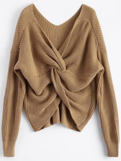 Twisted Back V-Neck Sweater