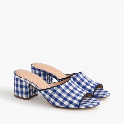 Gingham sandals with small chunky heel