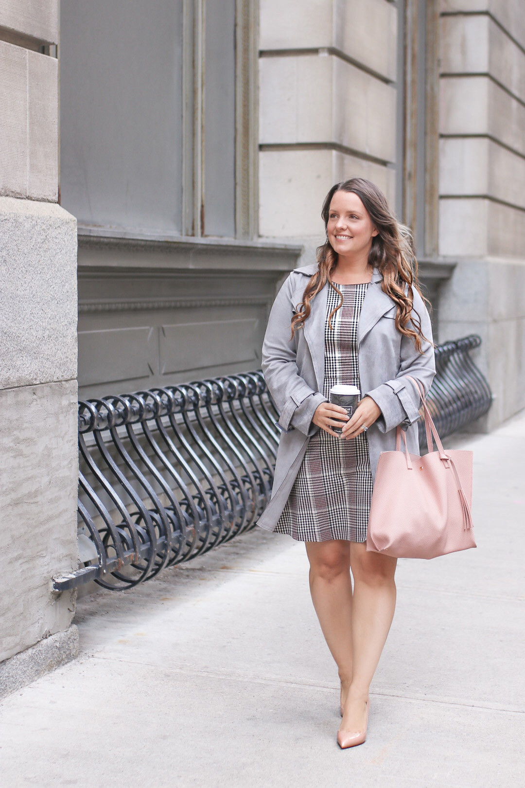 Work Outfits Women Plaid Dress Trench Coat Pink Tote Bag A Side Of Style
